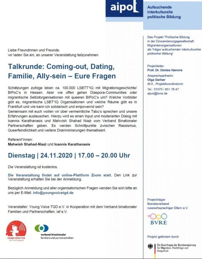 BVRE Lokale Maßnahmen 24.11.2020 LGBT Veranstaltung